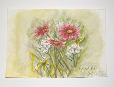 Glückwunschkarte, Blumen, Aquarellmalerei, Blüte, Natur, Aquarell
