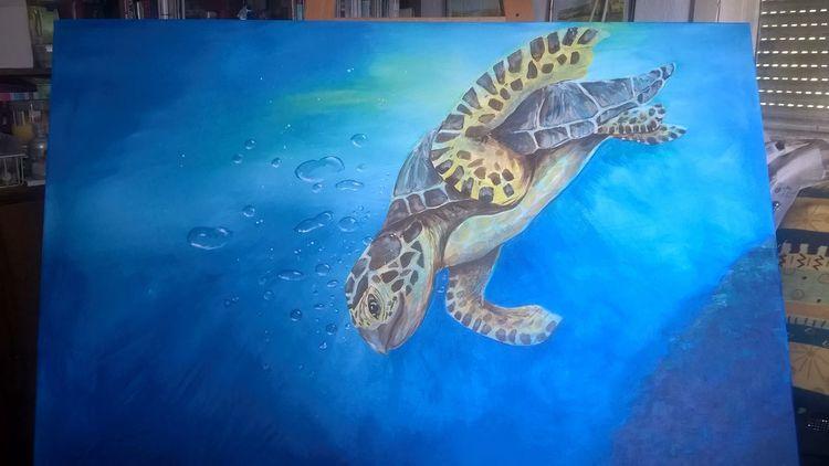 Schildkröte, Blau, Meer, Wasser, Acrylmalerei, Malerei
