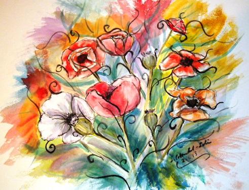 Farben, Aquarellmalerei, Sommer, Bunt, Freude, Blüte