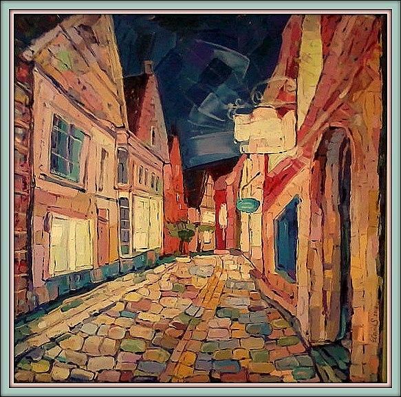Architektur, Ölmalerei, Malerei, Bremen, Cafe,