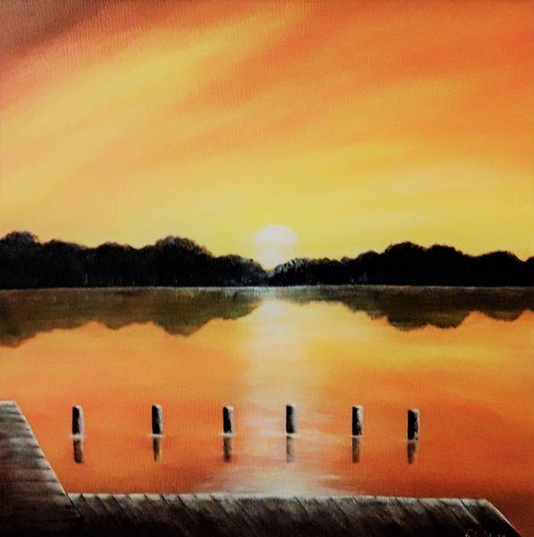 Sonnenuntergang, Sonne, Natur, Steg, Spiegelung, Landschaft
