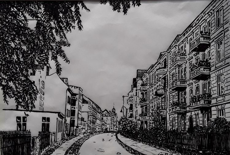 Stadt, Zeichnung, Schwarz weiß, Federzeichnung, Alte häuser, Straße