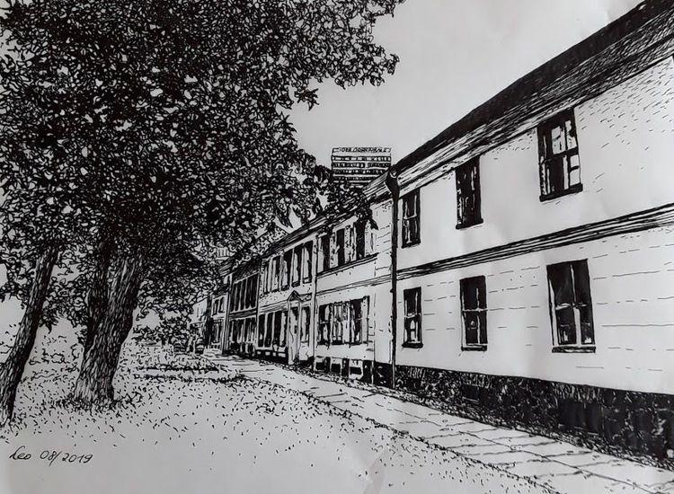 Alte häuser, Schwarz weiß, Haus, Baum, Straße, Hochhaus