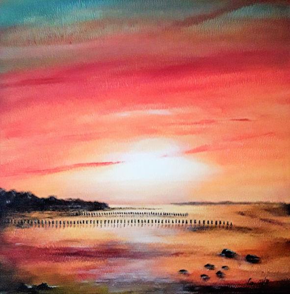 Meer, Sonne, Licht, Wasser, Landschaftsmalerei, Ruhig