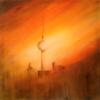 Fernsehturm, Abendstimmung, Acrylmalerei, Orange