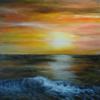Acrylmalerei, Sonnenuntergang, Welle, Licht