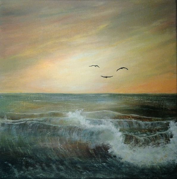 Acrylmalerei, Meer, Wasser, Natur, Welle, Malerei