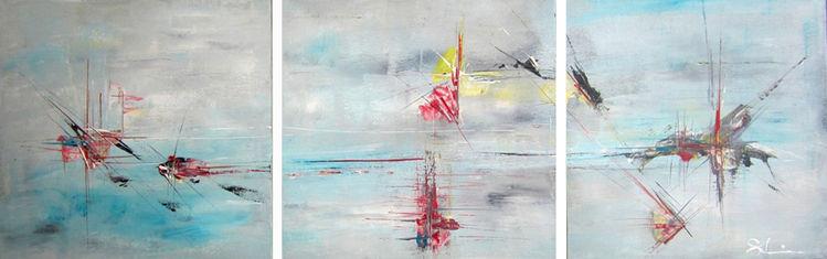 Traum, Acrylmalerei, Traumwelt, Seele, Triptychon, Abstrakt