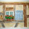 Aquarellmalerei, Blumen, Hausfront, Fachwerk