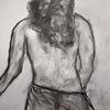 Kohlezeichnung, Rücken, Skizze, Zeichnungen