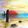 Zeichnung, Wachsmalstifte, Wischen, Malerei