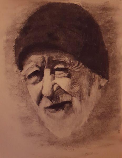 Portrait, Kohlezeichnung, Weiß, Lachen, Bart, Mono