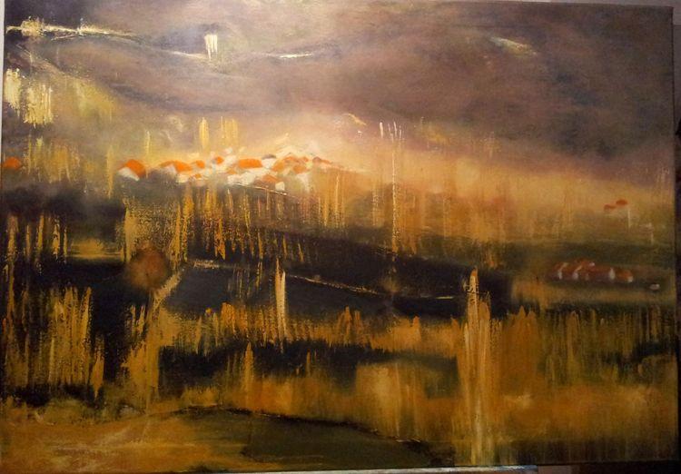 Malerei, Natur, Abstrakt, Landschaft, Baum, Ölmalerei