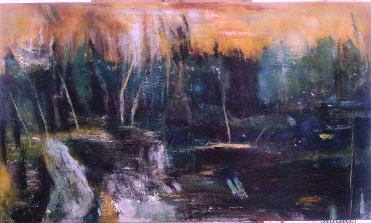 Wasser, Ölmalerei, Gegenständlich, Natur, Abstrakt, Landschaft