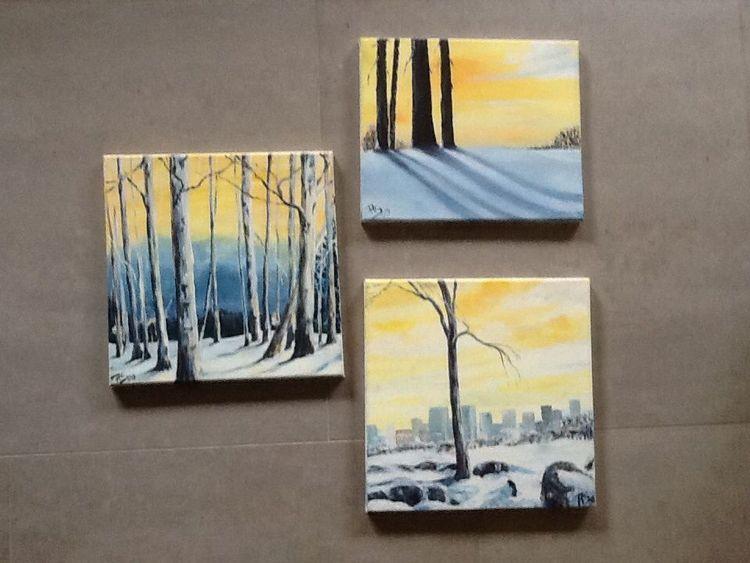 Schnee warm, Winter, Kalt farbenkontrast, Malerei