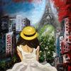 Landschaft, Paris, Frau, Stadt