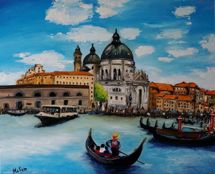 Venedig, Malerei, Italien, Landschaft, Gondel, Kunstwerk