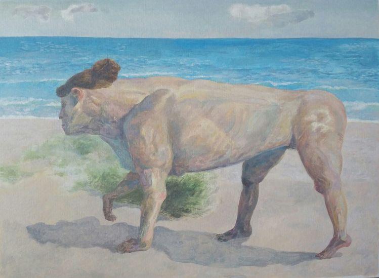 Surreal, Figurativ, Tiermensch, Malerei