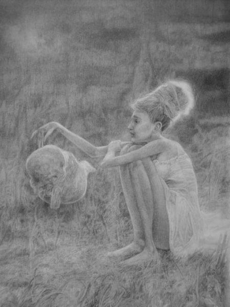 Zeichnung, Surreal, Fantasie, Illustrationen, Kind, Frau