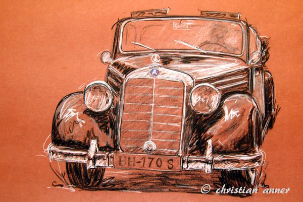 Cabrio, Mercedes, Benz, Zeichnungen, Oldtimer,