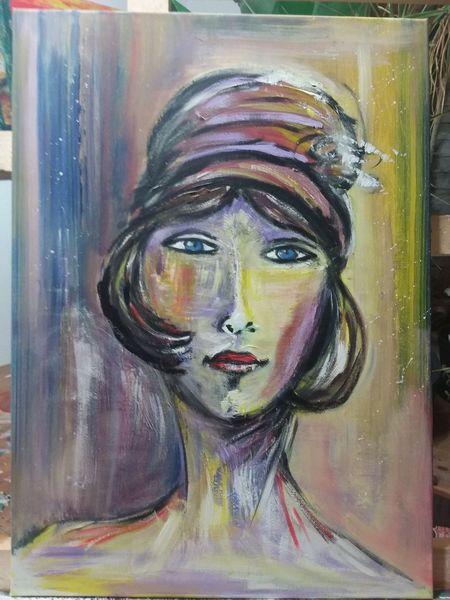 Frau mit hut, Modern, Portrait, Abstrakt, Malerei, Menschen