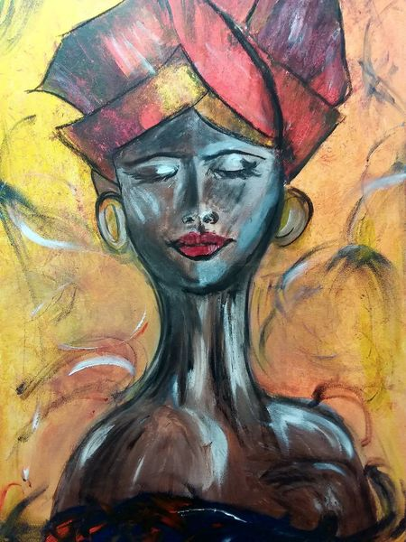 Turban, Afrika, Acrylmalerei, Frau, Malerei, Menschen
