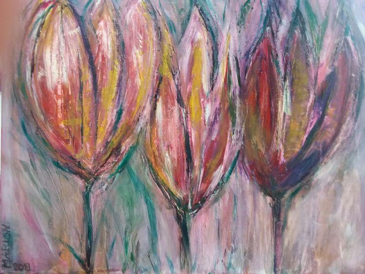 Pastellmalerei, Frühling, Malerei, Blumen, Natur,