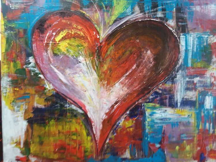 Acrylmalerei, Abstrakt, Herz, Bunt, Malerei, Fantasie