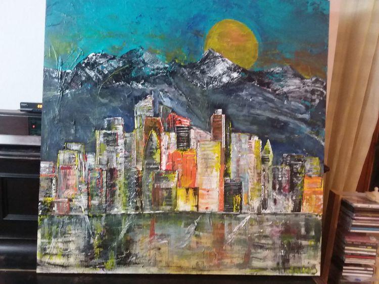 Los angelos, Hochhäuser bunt 100x100, Stimmung, Farben, Acryl berge, Malerei