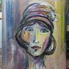 Abstrakt, Modern, Frau mit hut, Portrait
