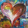 Abstrakt, Herz, Bunt, Acrylmalerei