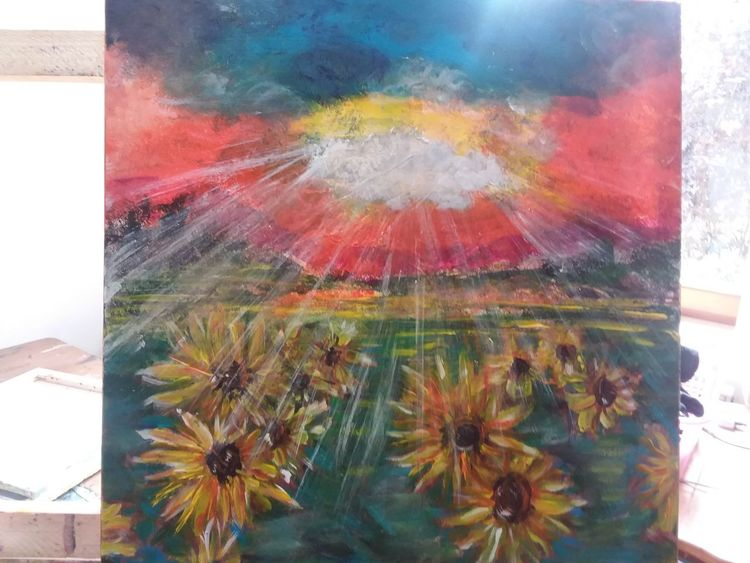 Acrylmalerei, Modern, Landschaft, Sonnenblumen, Bunt, Malerei