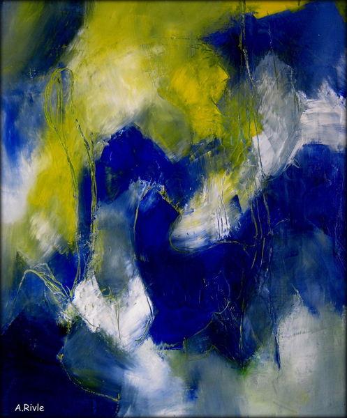 Gelb, Einige linien, Weiß, Blau, Malerei, Abstrakt