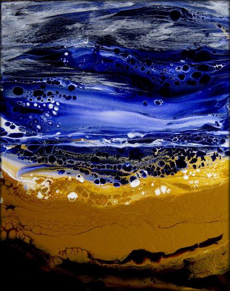 Welle, Strand, Wasser, Sand, Himmel, Mischtechnik