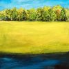 Waldrand, Fluss, Wiese, Malerei