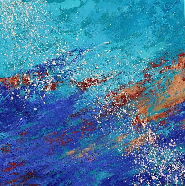 Türkis, Ölmalerei, Abstrakt, Modern, Ultramarin, Rot