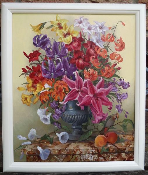 Ölmalerei, Stillleben, Blumen, Lilien, Malerei, Gemälde