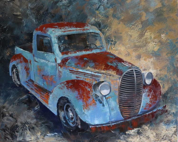 Abstrakt, Malerei, Auto, Ölmalerei, Oldtimer, Gemälde