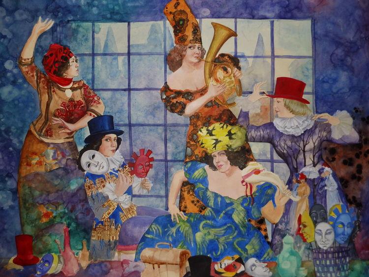 Malerei, Menschen, Maske, Karneval