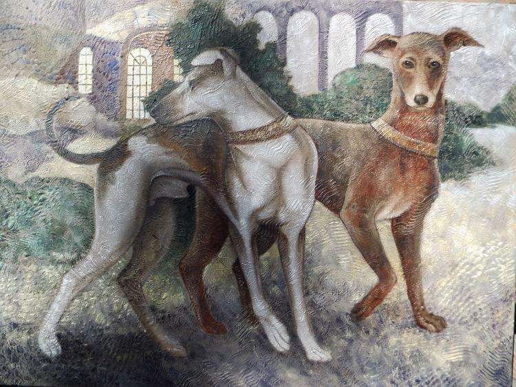 Hund, Ölmalerei, Gemälde, Malerei, Garten,
