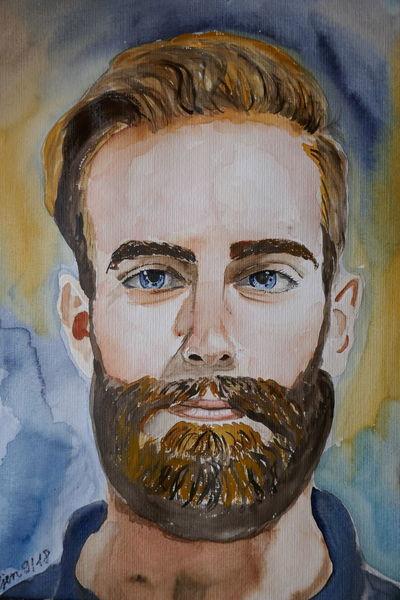 Mann, Bart, Portrait, Aquarellmalerei, Aquarell