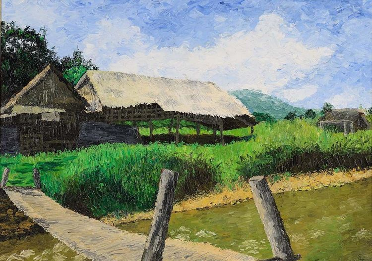 Brücke, Spachtel, Ölmalerei, Leinen, Tailand, Dorf