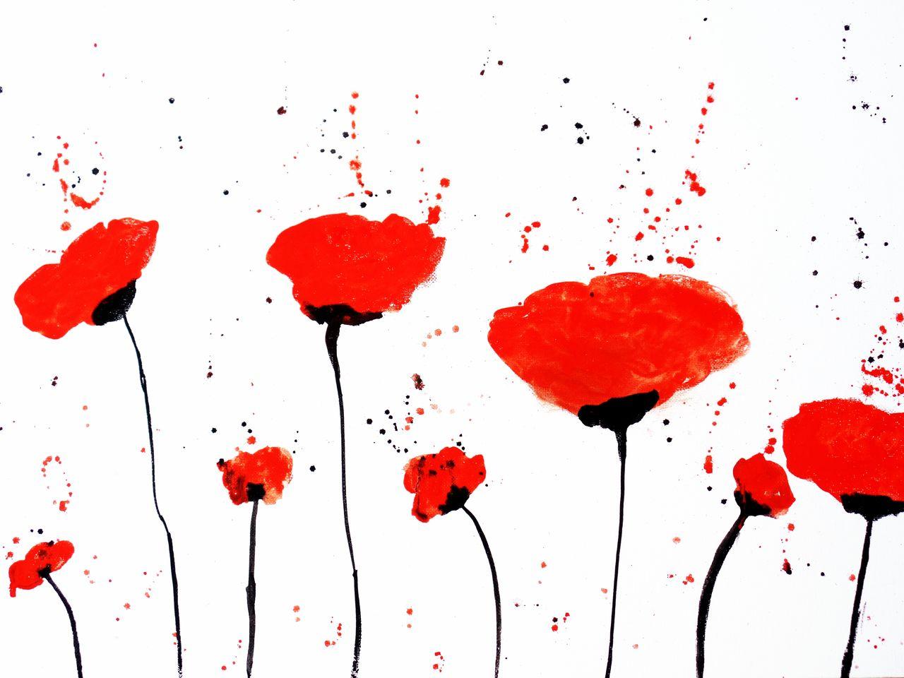 Roter Mohn Malen Mohnblumen Abstrakt Malerei Von Dreamgirl Bei