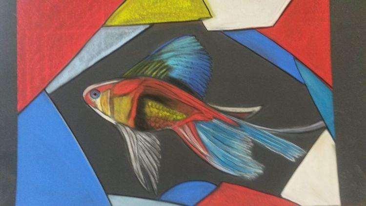 Schön, Abstrakt, Bunt, Fisch, Malerei