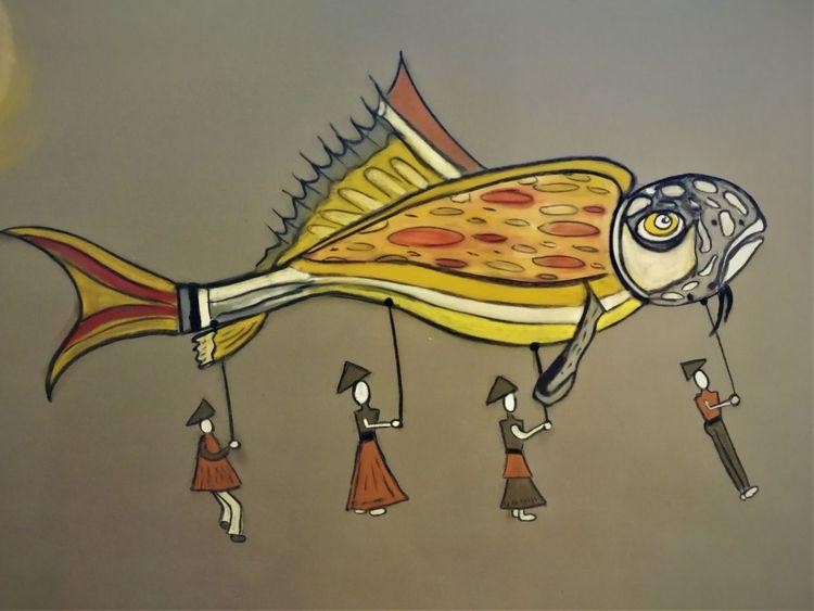 Abstrakt, Figur, Fantasie, Bunt, Malerei, Fisch