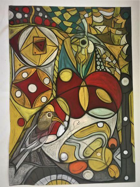 Vogel, Rund, Leuchtend, Bunt, Fantasie, Abstrakt