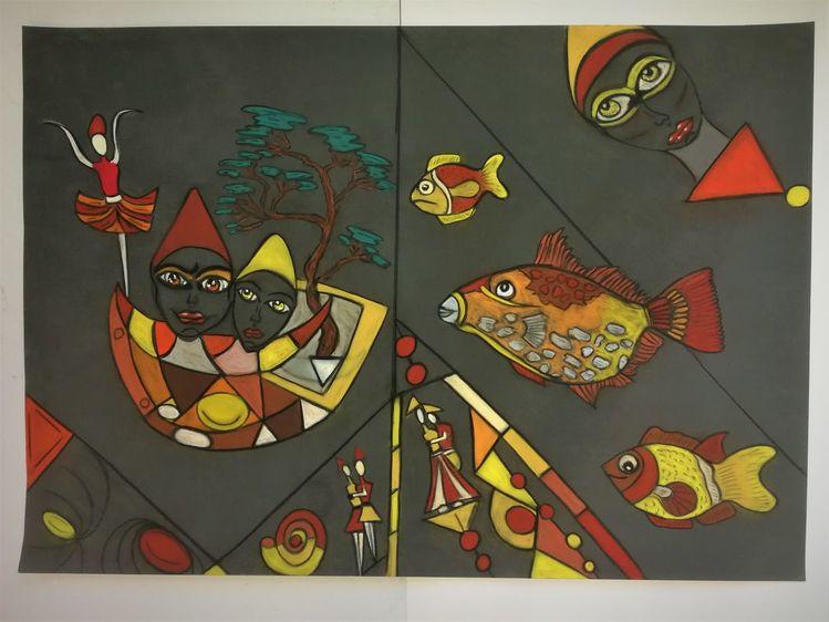Bunt, Fisch, Fantasie, Abstrakt, Gestaltung, Malerei