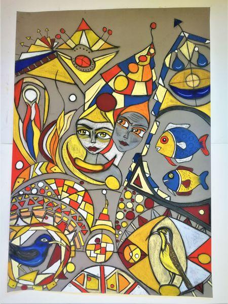 Fisch, Kopf, Vogel, Leuchtend, Fantasie, Abstrakt