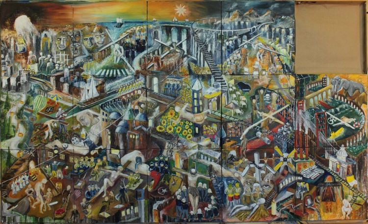 Gesellschaft, Politik, Ölmalerei, Malerei