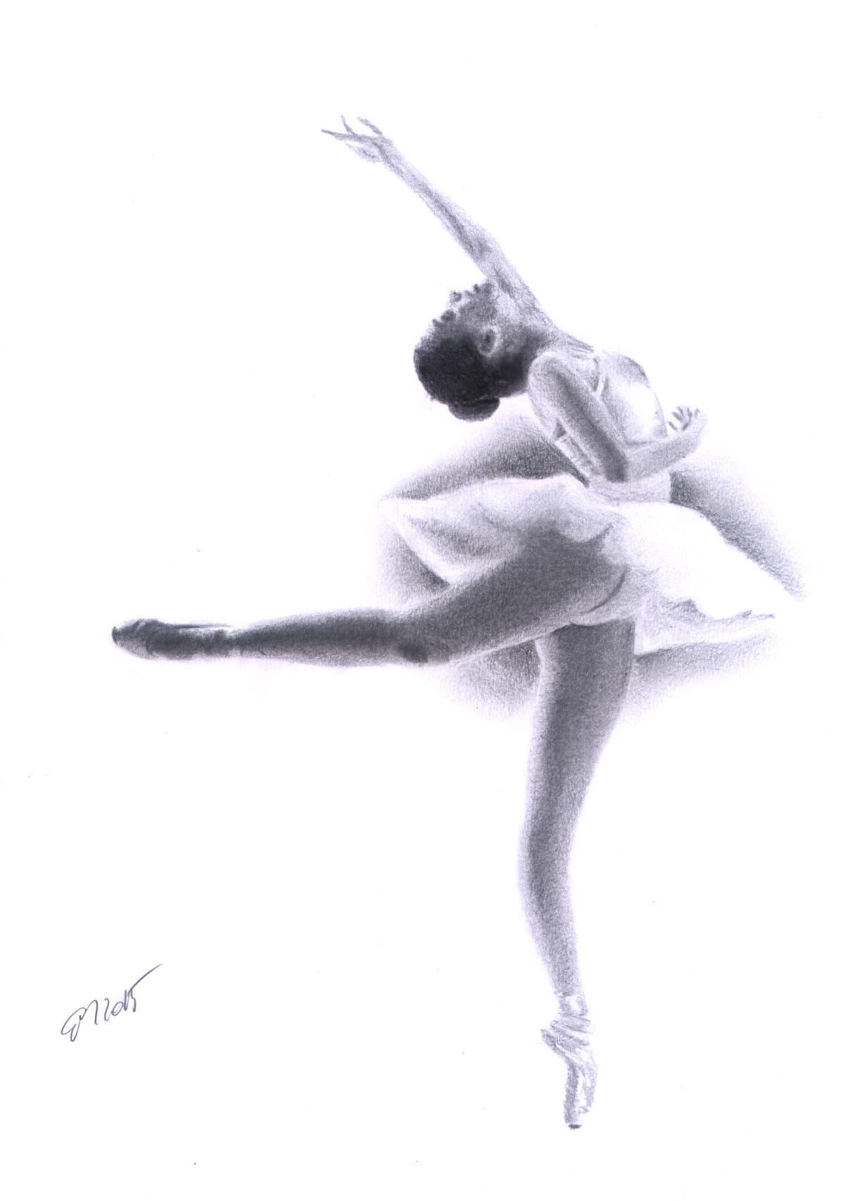 Ballerina Schwarz weiß, Bleistiftzeichnung, Ballett, Tanz